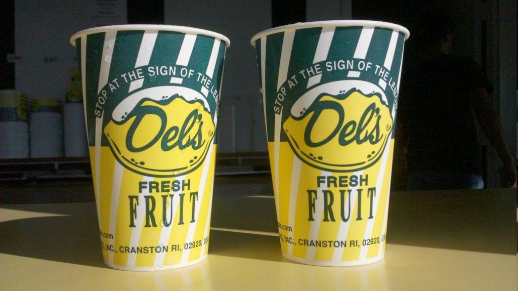 Del's Lemonade, two cups on a window sill in Rhode Island.