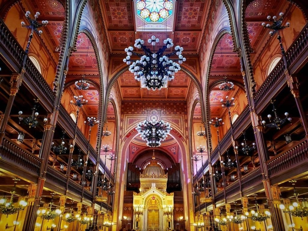 Ornate interior of Dohany Street Synagogue in Budapest, one of the most beautiful places to visit in the city.