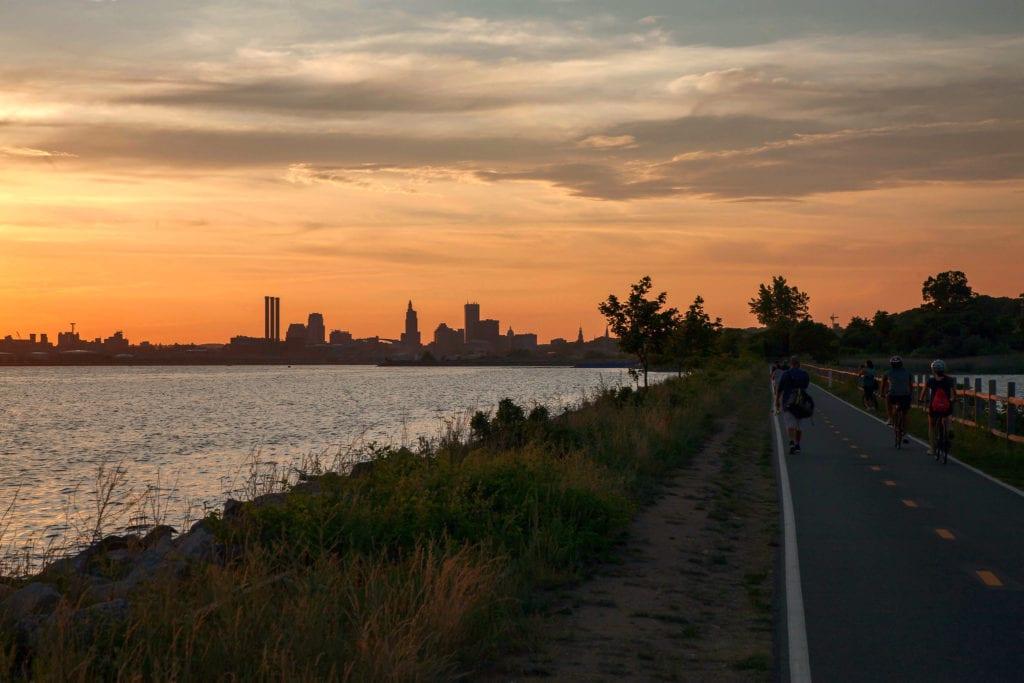 East Bay Bike Path at sunset in Rhode Island.