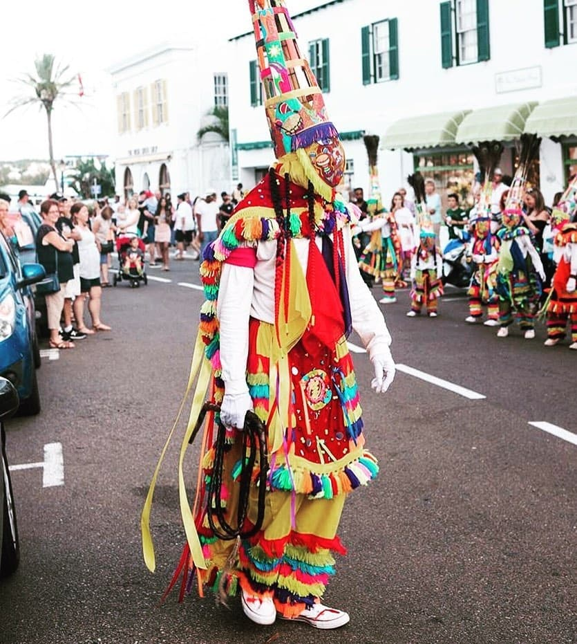 Traditionally dressed Gombey dancer in Bermuda during a parade
