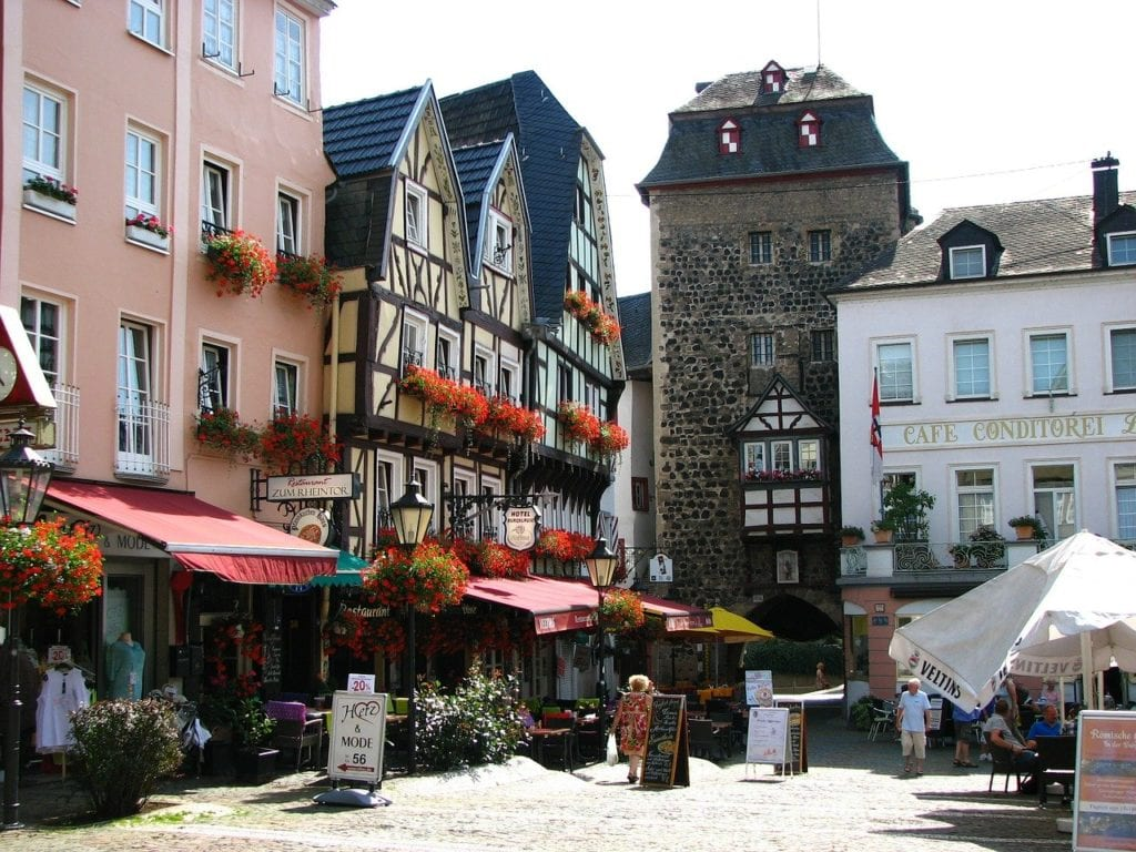 City Gate to Linz, a perfect day trip from Austria with cute houses and half-timbered buildings.
