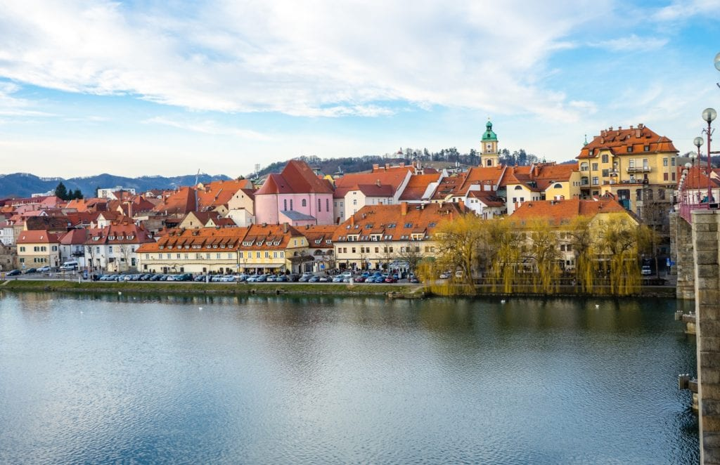 View of Maribor, Slovenia from across the river.  A nice weekend getaway from Vienna.