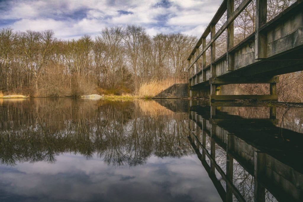 Walkway over water at Norman Bird Sanctuary in Middletown, RI.