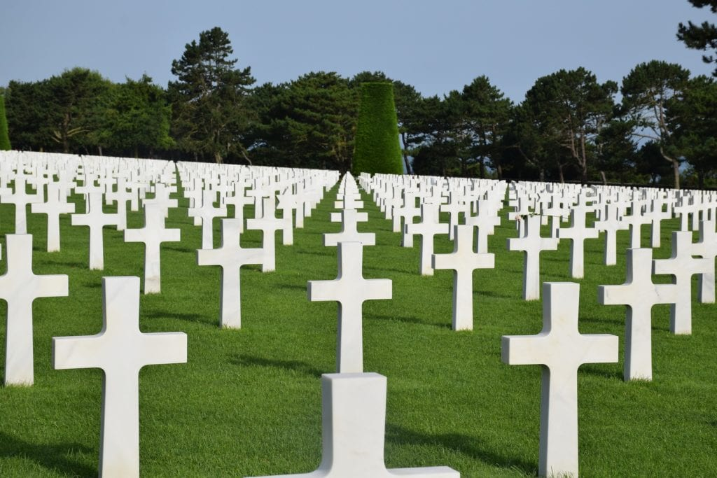 White cross grave markers at the Normandy American Cemetary in France.