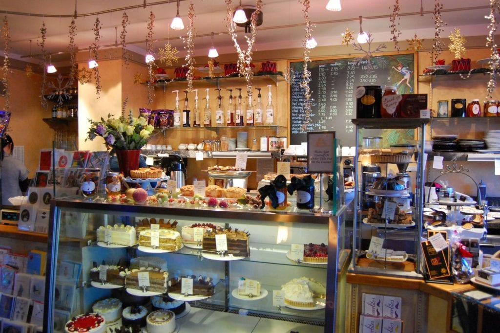 Interior of Pastiche, the best dessert café in all of Rhode Island.