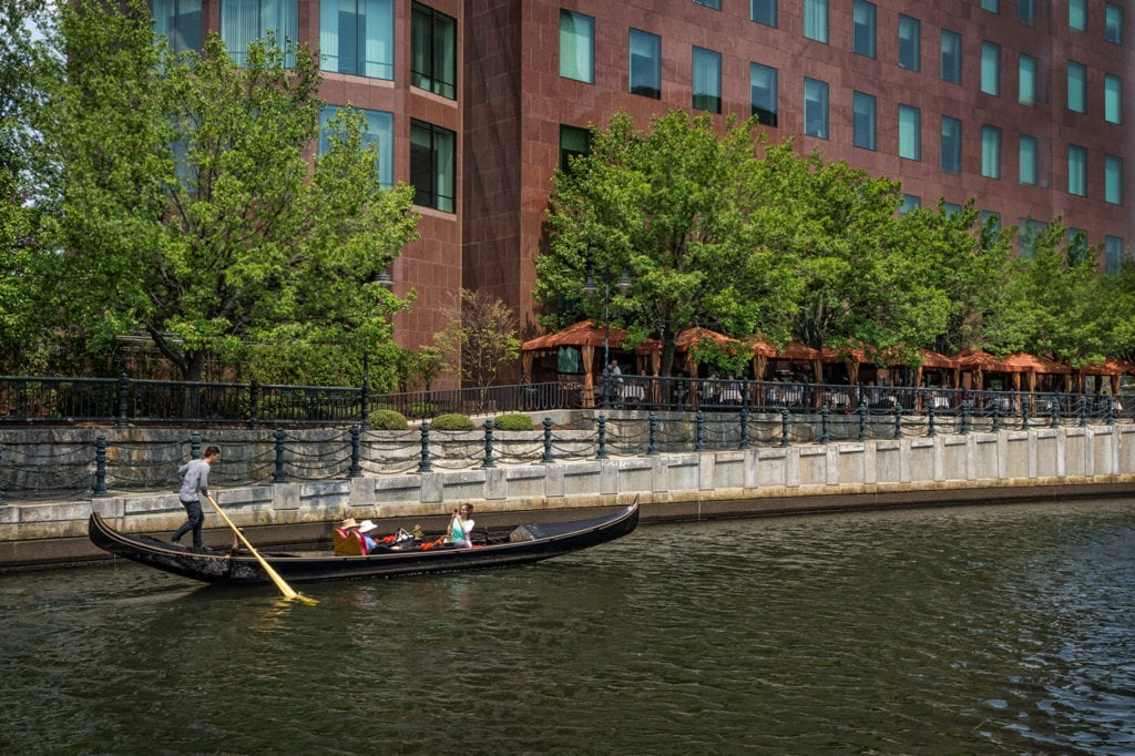 Gondola ride in Providence through Waterplace Park.