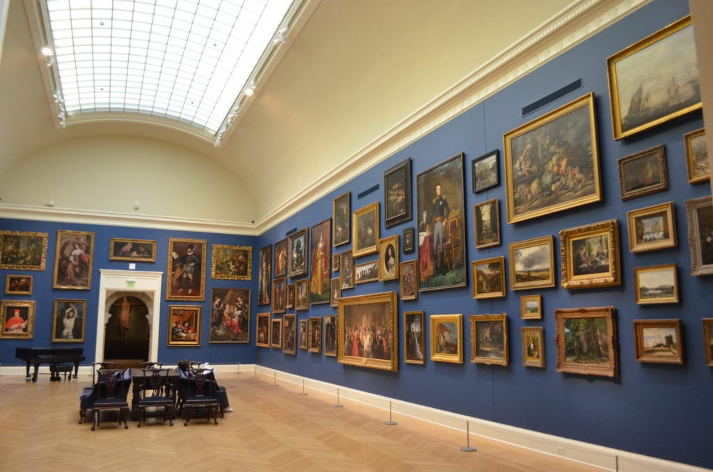 Blue art gallery at RISD Museum in Providence.