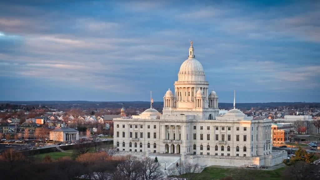 Rhode Island State House seen from a hill.