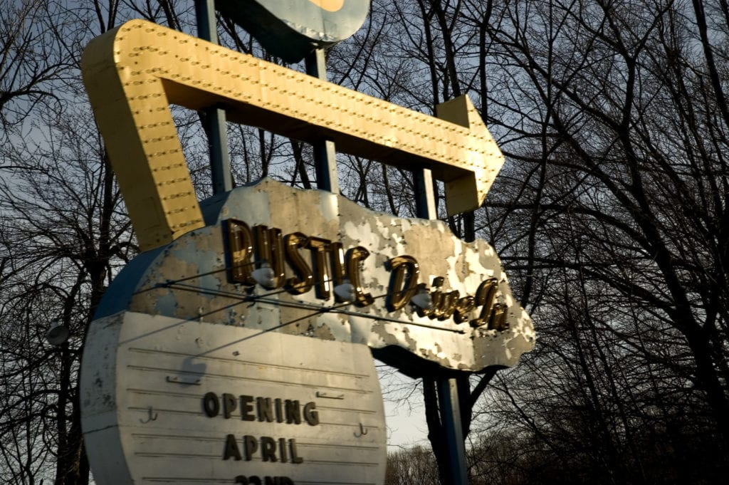 The old sign at the Rustic Drive In, Rhode Island's only drive in movie theatre.