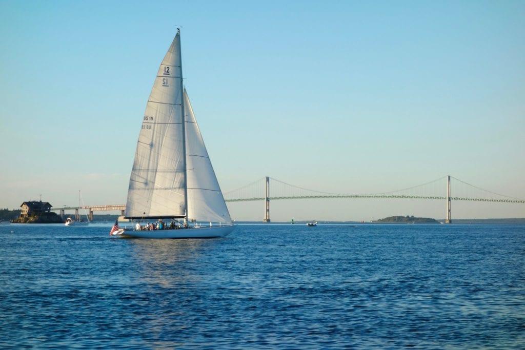Sailboat in Newport with Newport Bridge in the Background, Rhode Island.