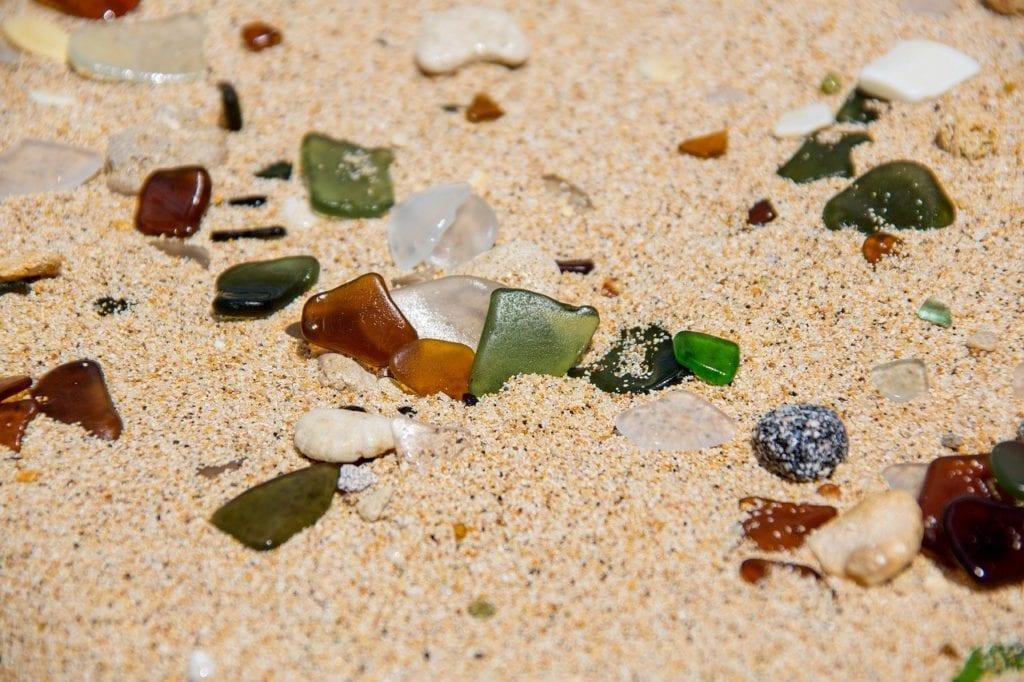 Close-up of sea glass on a beach in Bermuda