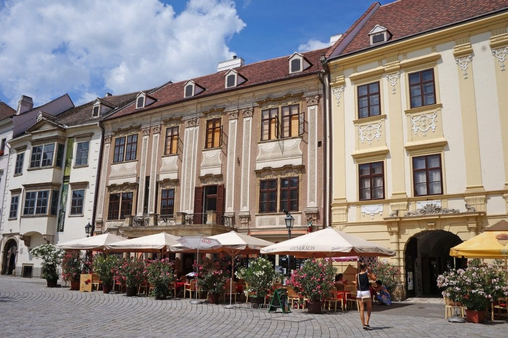 Outdoor terrace cafes in Sopron, Hungary, an easy day trip from Vienna.