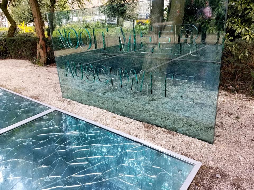 Auschwitz memorial in Amsterdam.  'Heaven is no longer unbroken since Auschwitz'