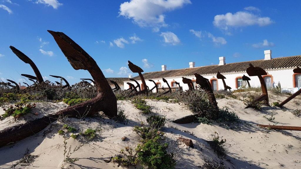 'Anchor graveyard' at Barril Beach, Portugal