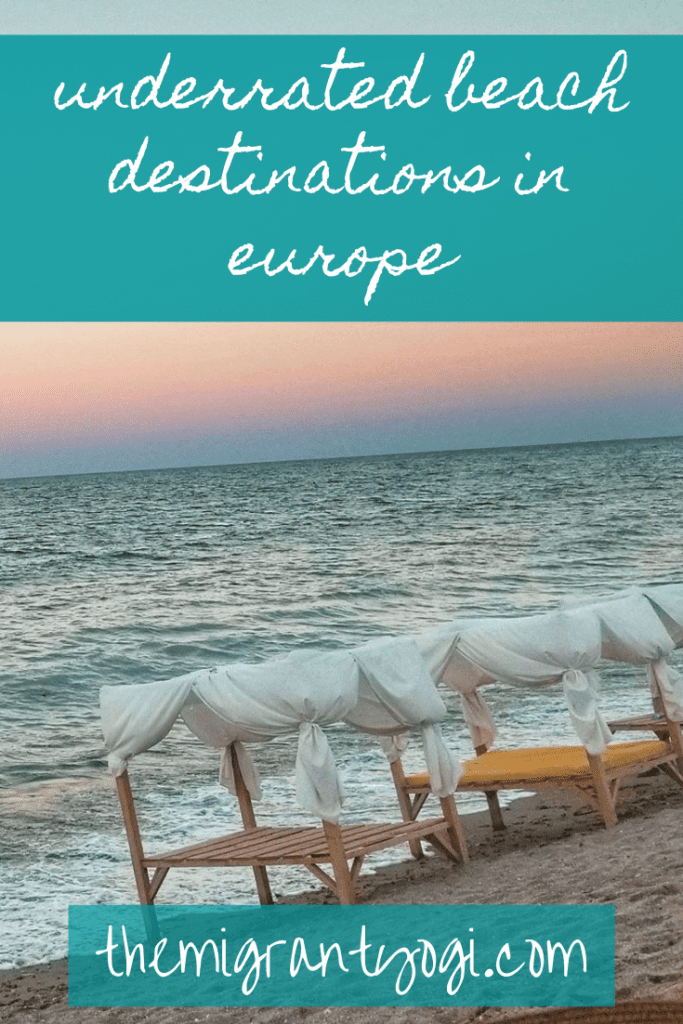 Pinterest Graphic showing beach beds in Vama Veche, Romania with text: Underrated Beach Destinations in Europe.