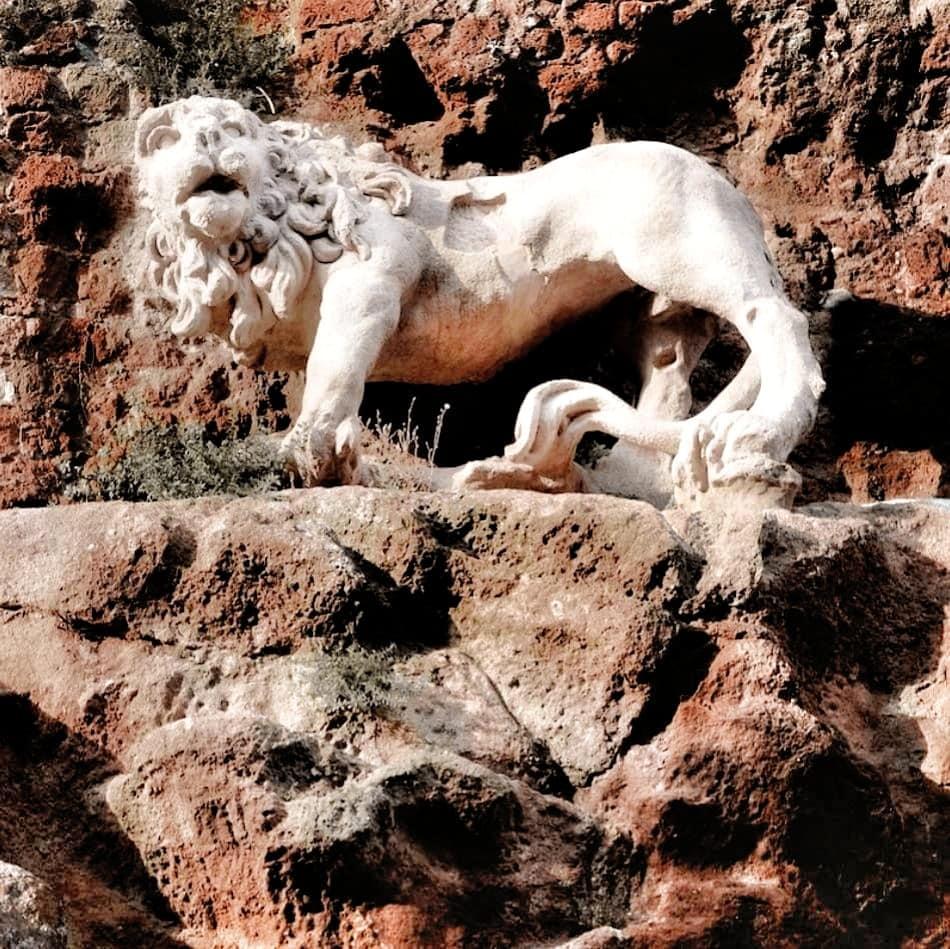 Bernini lion sculpture in Monterano antica