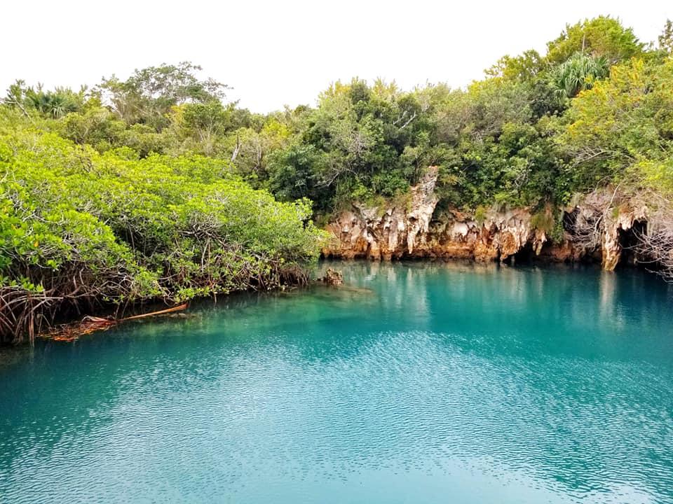 Bermuda-blue water at Blue Hole Park in Bermuda