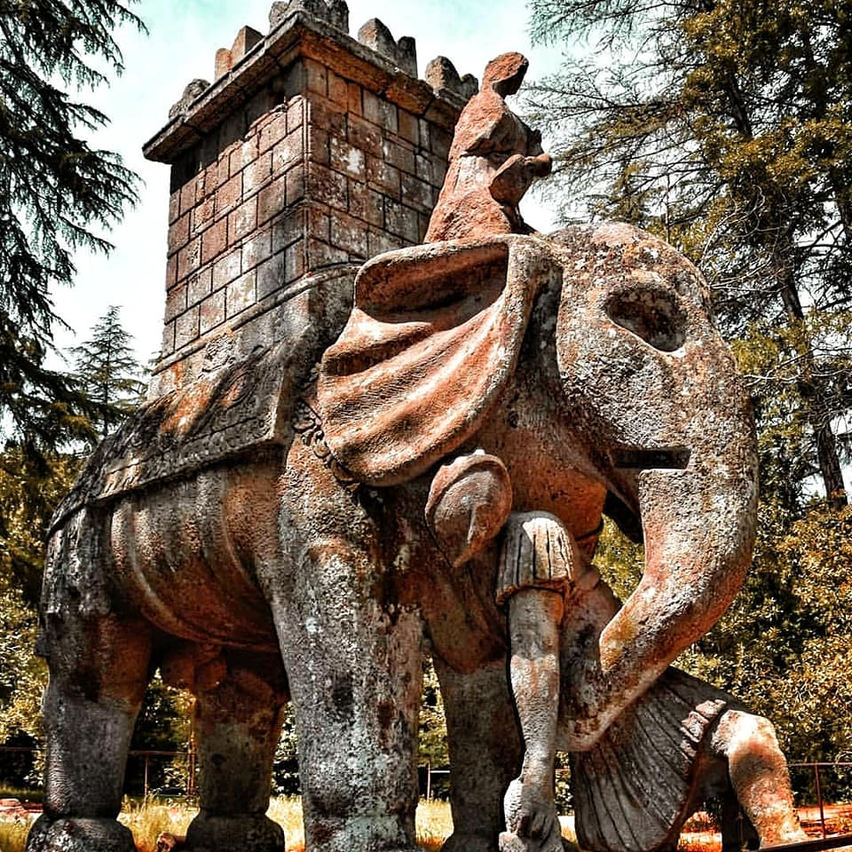 statue in bomarzo's parco dei mostri, one of the hidden gems in tuscia, Hannibal's war elephant