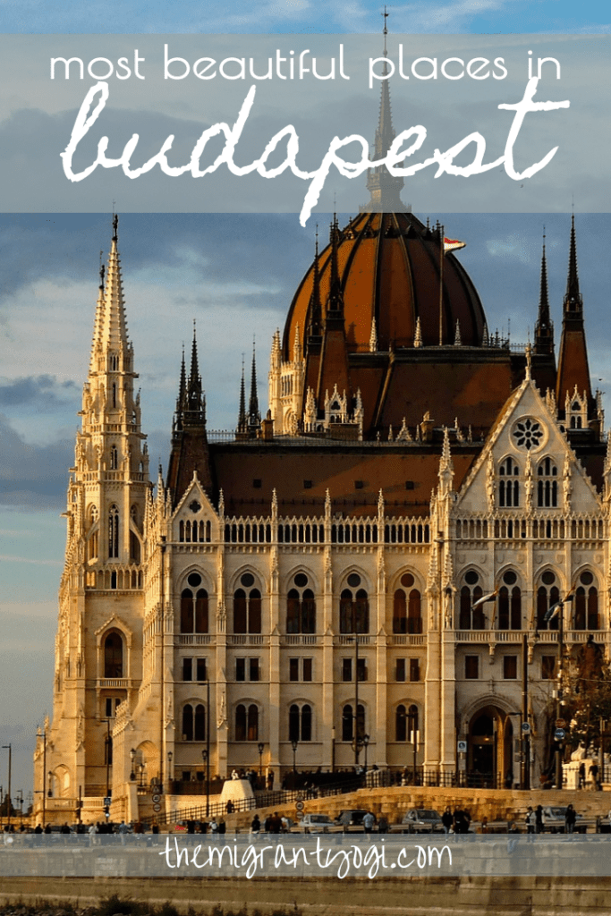 Pinterest Graphic - 16 most beautiful places in Budapest with Parliament in image