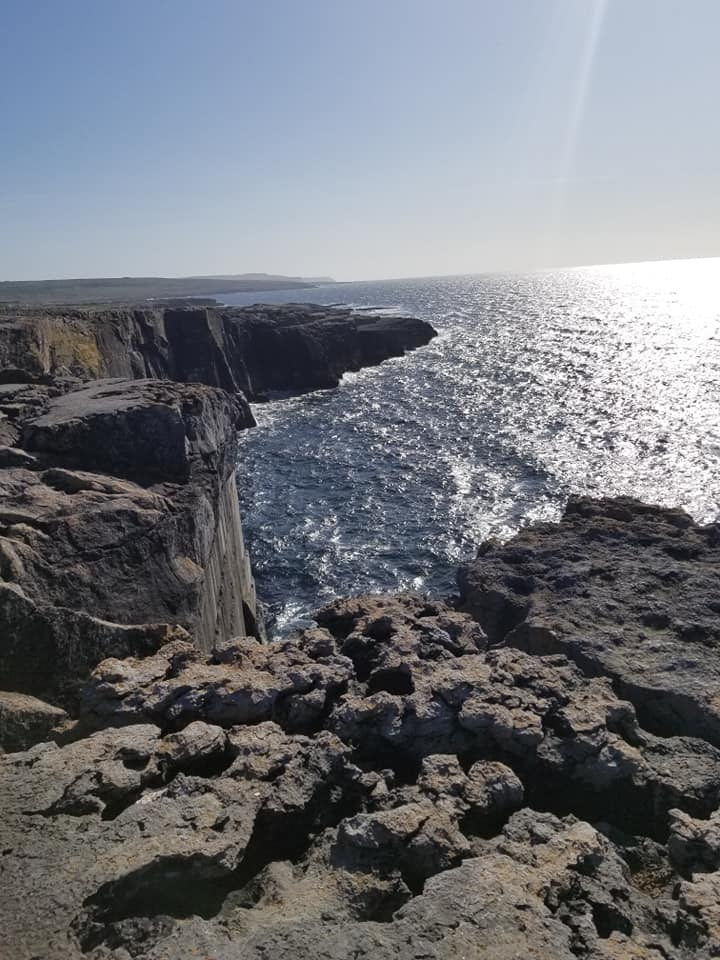 Looking over the sea from The Burren, Ireland