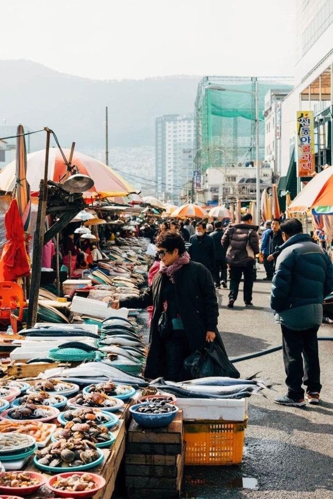 Outdoor market in Busan, South Korea.