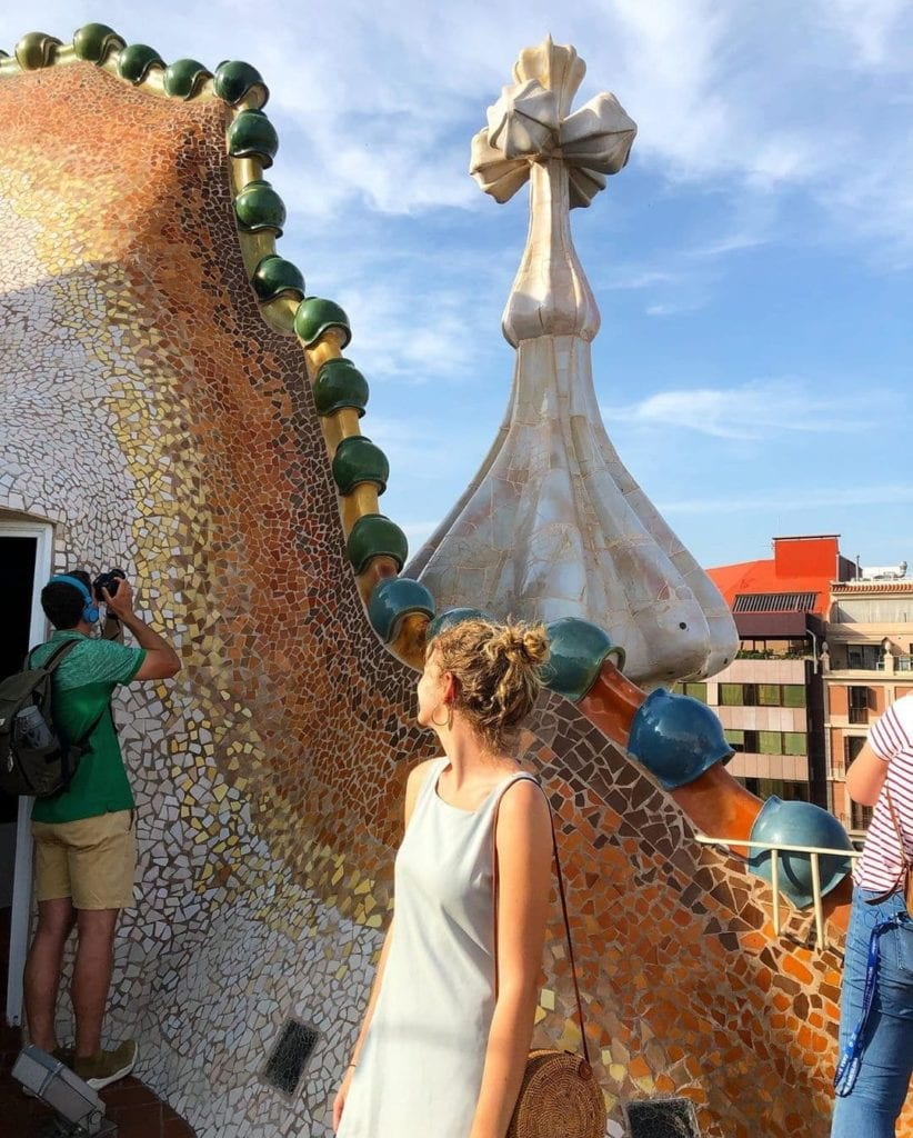 Outside rooftop of Casa Battlo, one of the most beautiful places in Barcelona.