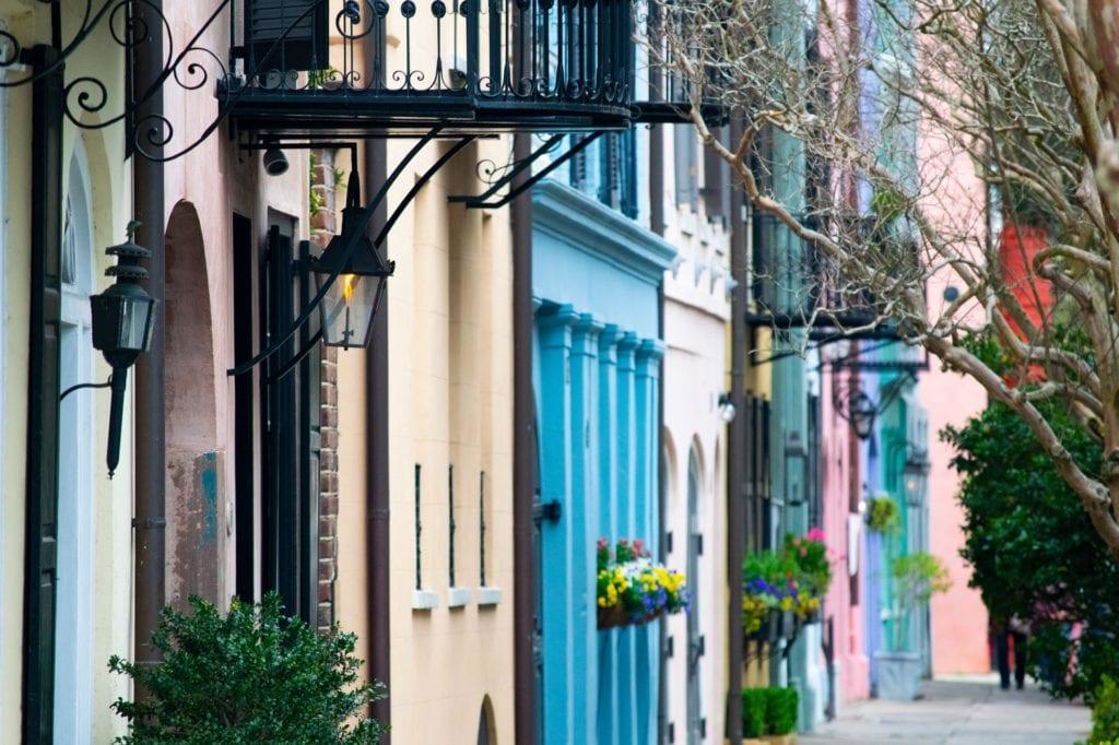 Rainbow row of houses in Charleston, South Carolina, USA