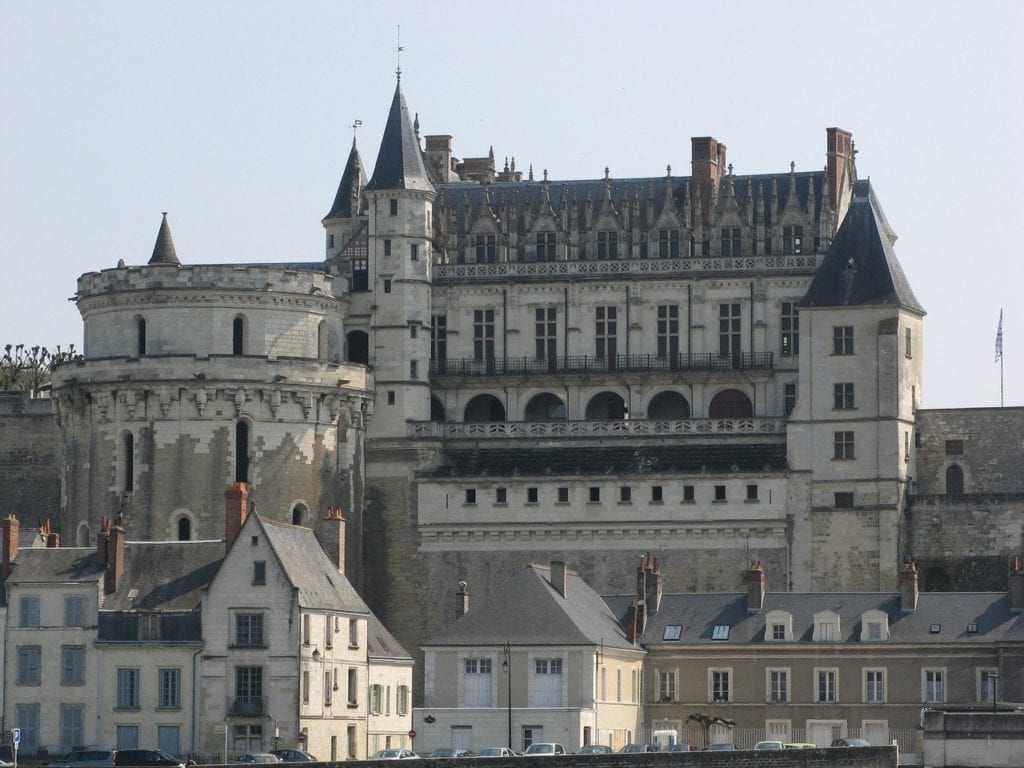 Chateau Royal d'Amboise over the Loire River in Amboise, France.