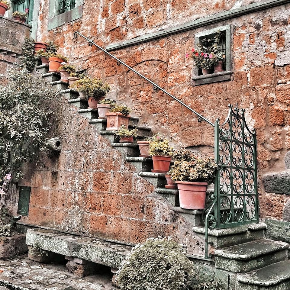 Stairs in Civita di Bagnoregio with potted plants lined up on each step.