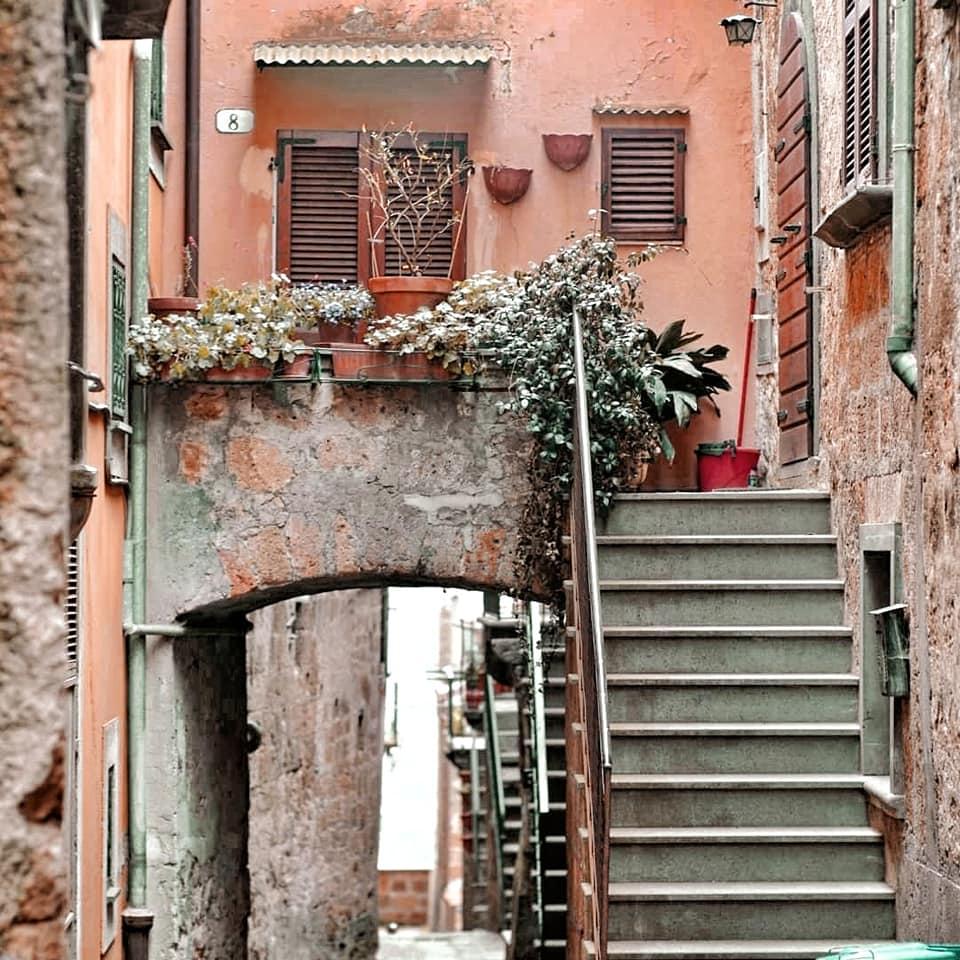 Tufo stairs and apartments in Civita di Bagnoregio, a hidden gem of Tuscia