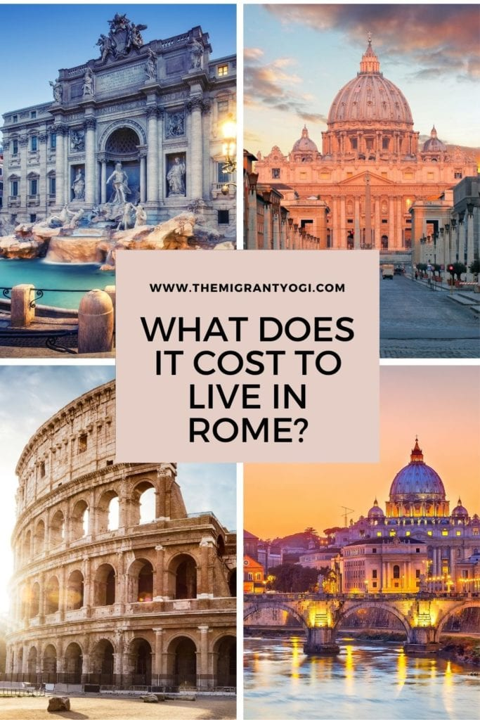 Pinterest graphic - cost of living in Rome, Italy