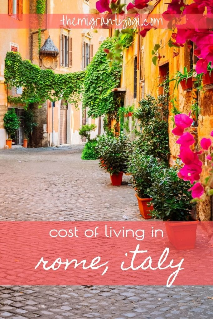 Pinterest graphic - cost of living in Rome, Italy with street in Trastevere in background.