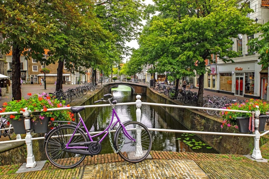 View from a bridge looking down a canal in Delft, Netherlands.  The canal is lined with trees and bicycles.  There is a bicycle on the bridge the photo was taken from.