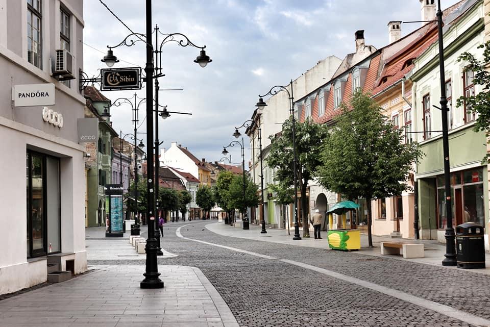 An empty street in Sibiu, Romania during the lockdown