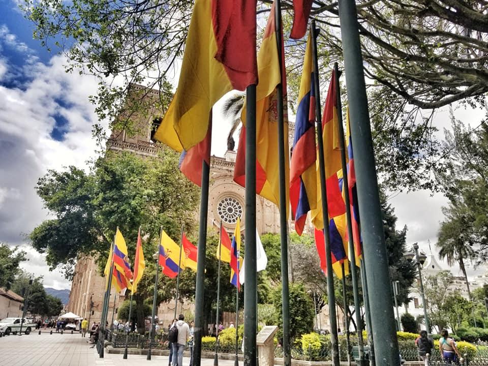 Semi-circle of Ecuadorian flags at Parque Calderon in Cuenca, Ecuador