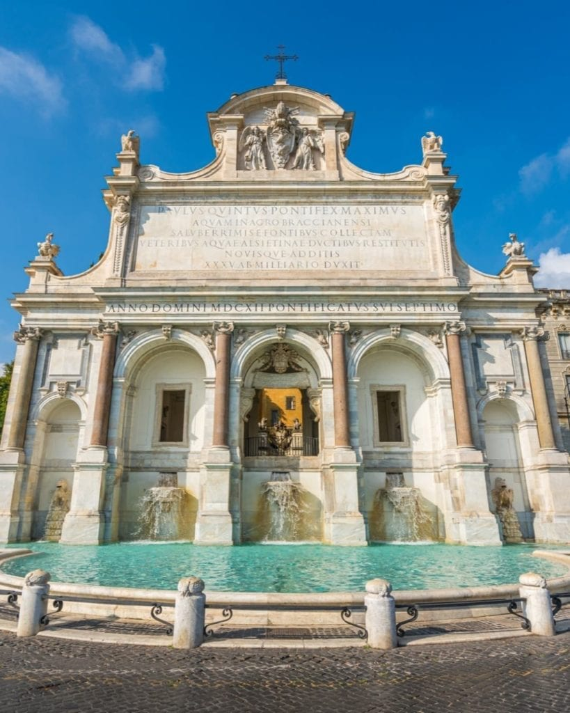 Fontana dell'acqua Paola, with no crowds under blue skies.  One of the best places to take Instagram photos in Rome.