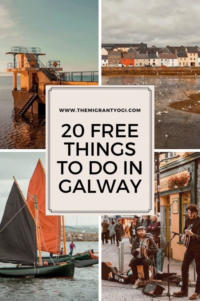 """Pinterest graphic showing four different images of Galway with text """"20 Free Things to do in Galway"""""""