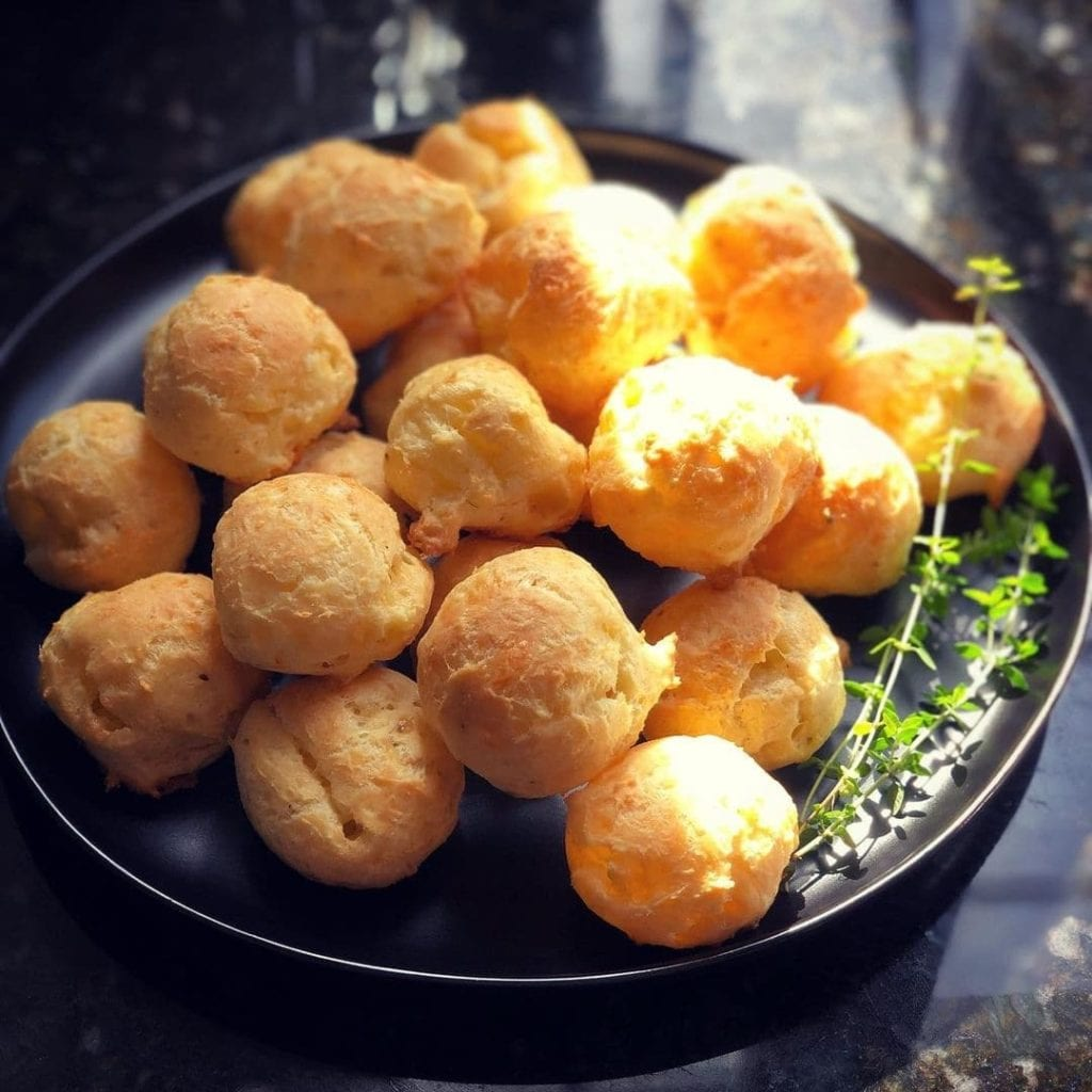 Gougere, small choux pastry balls stuffed with cheese, a French traditional snack.