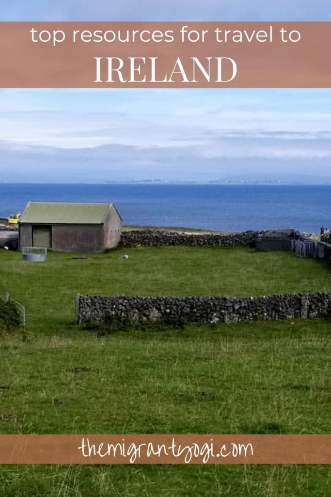Pinterest graphic: top travel resources for Ireland with lone house on Western Irish cliffs.