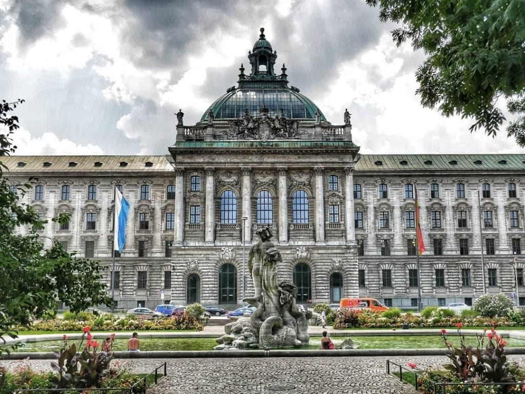 Exterior facade of Justizpalast in Munich, Germany - one of the most instagrammable places in Munich.