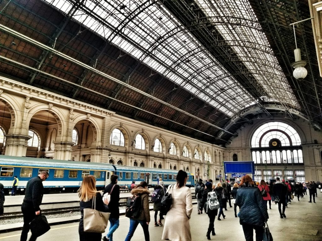 Keleti railway station in Budapest, Hungary - taking the train from Budapest to Sibiu.