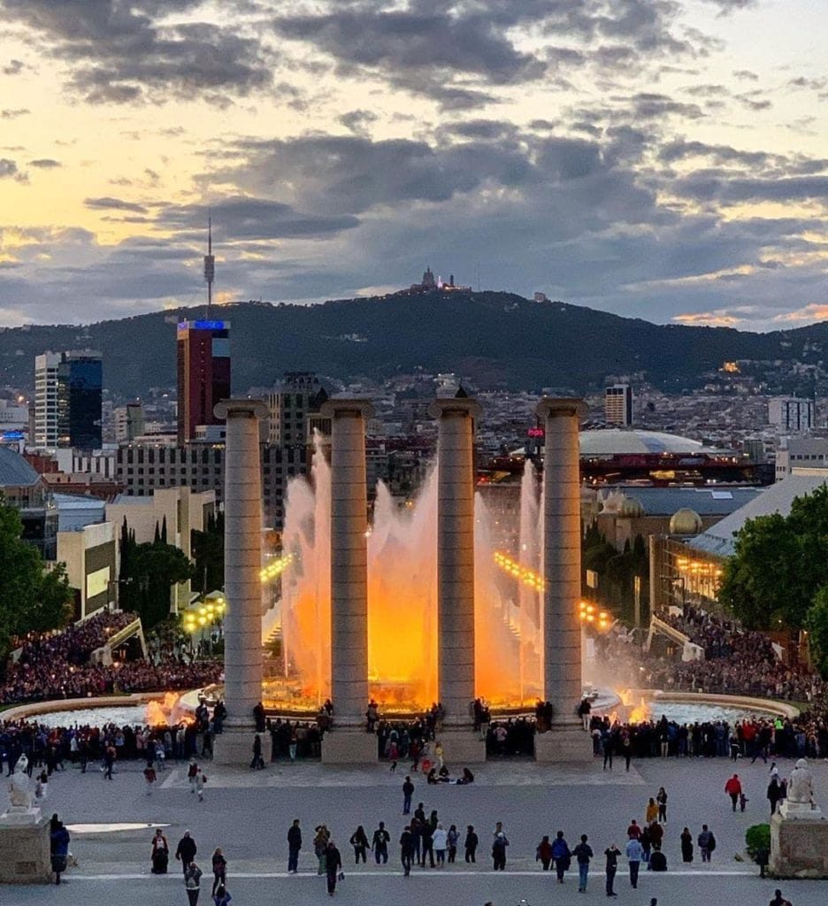 The Magic Fountain in action, complete with light show, at dusk, one of the most beautiful places in Barcelona.