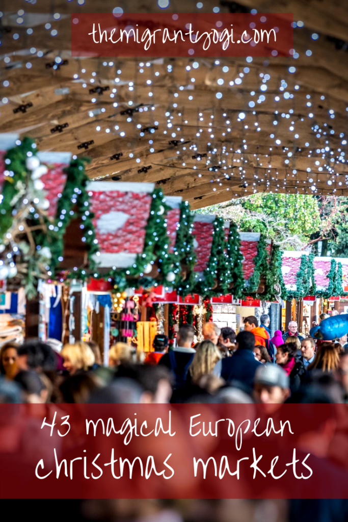 Pinterest graphic of Christmas market with text: magical European Christmas markets.