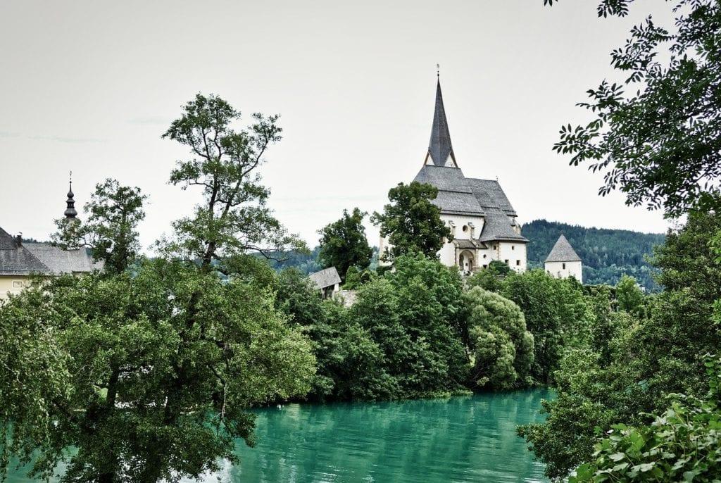 Monestary on Lake Worthersee, just outside Klagenfurt, Austria.