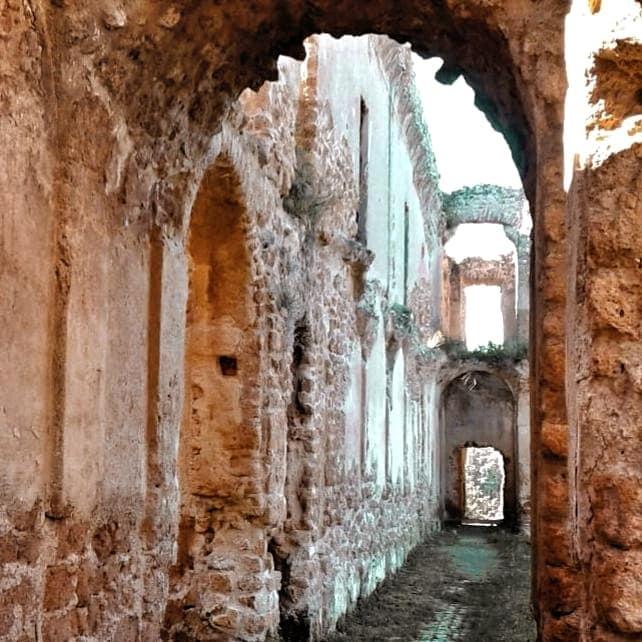 Hallway ruins in building in Monterano Antica, Canale Monterano, Tuscia