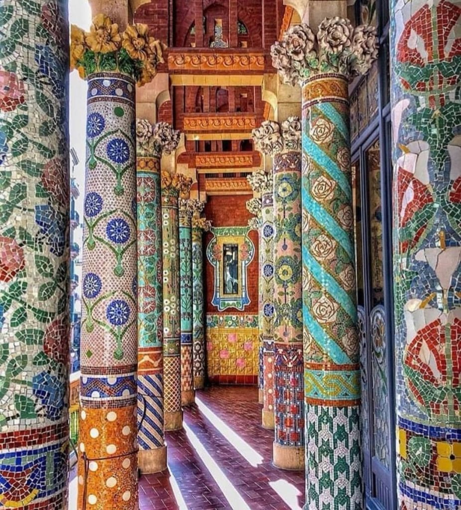 Colorful columns at the Palace of Music in Barcelona, one of the most beautiful places in Barcelona.