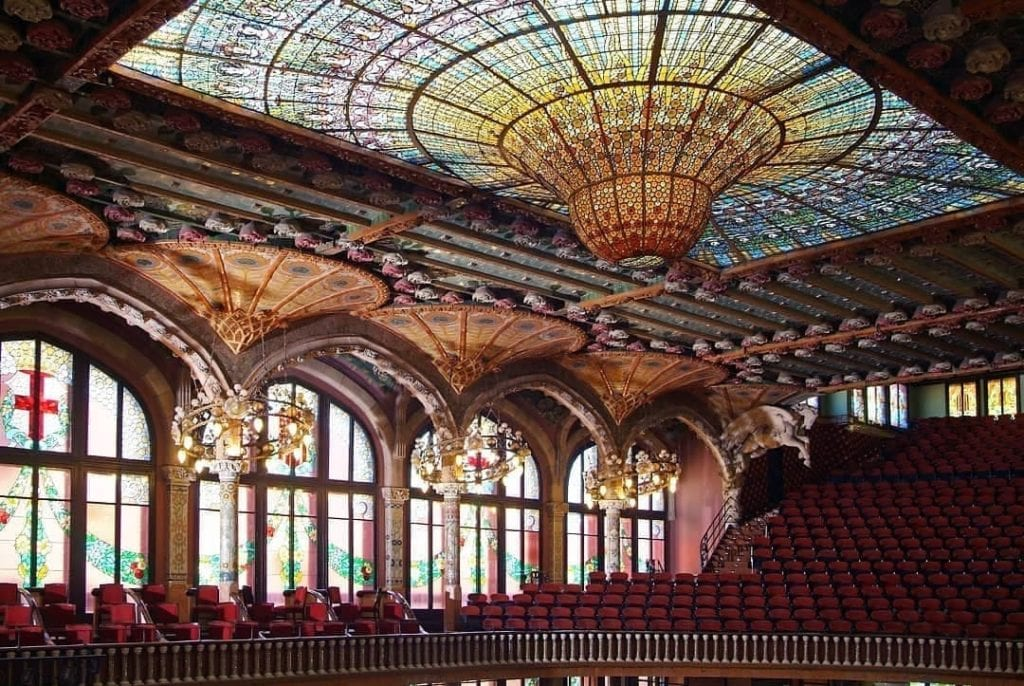 Interior stained glass ceiling of the Palace of Music, one of the most beautiful places in Barcelona.