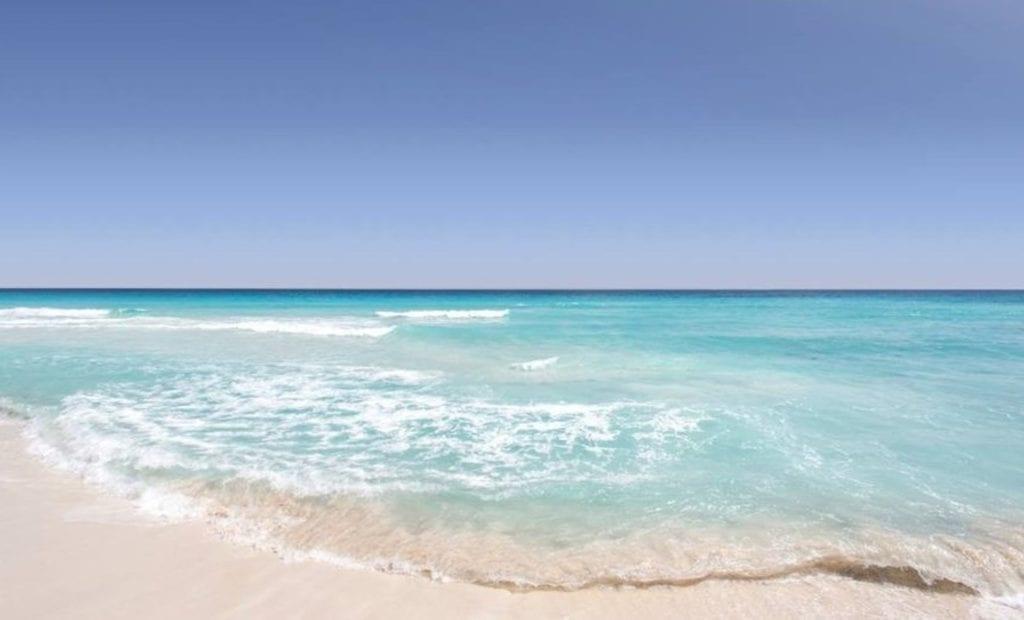 Clear blue waters on a beach in Playa del Carmen, Mexico