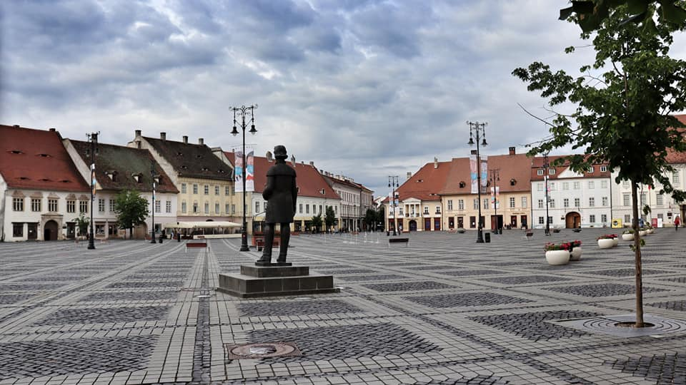 Empty Piata Mare in Sibiu, Romania