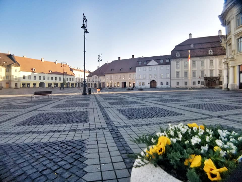 Empty Piata Mare in Sibiu, Romania during the lockdown